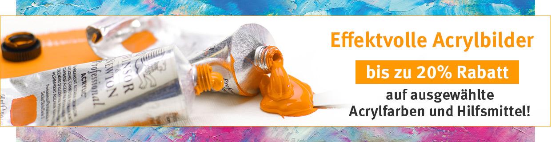 Bis 20% Rabatt auf ausgewählte Acrylfarben und Hilfsmittel