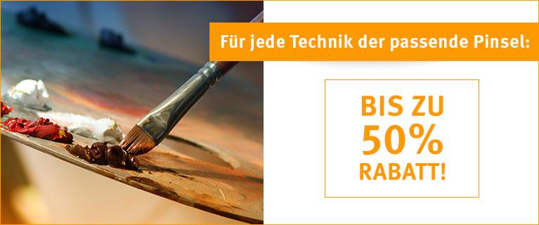 Für jede Technik der passende Pinsel: Bis zu 50% Rabatt.